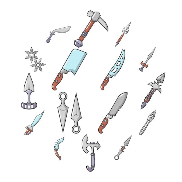 Ensemble d'icônes de bras en acier, style cartoon Vecteur Premium