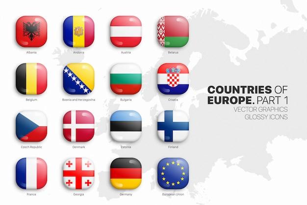 Ensemble D'icônes Brillant 3d De Drapeaux De Pays Européens Vecteur Premium