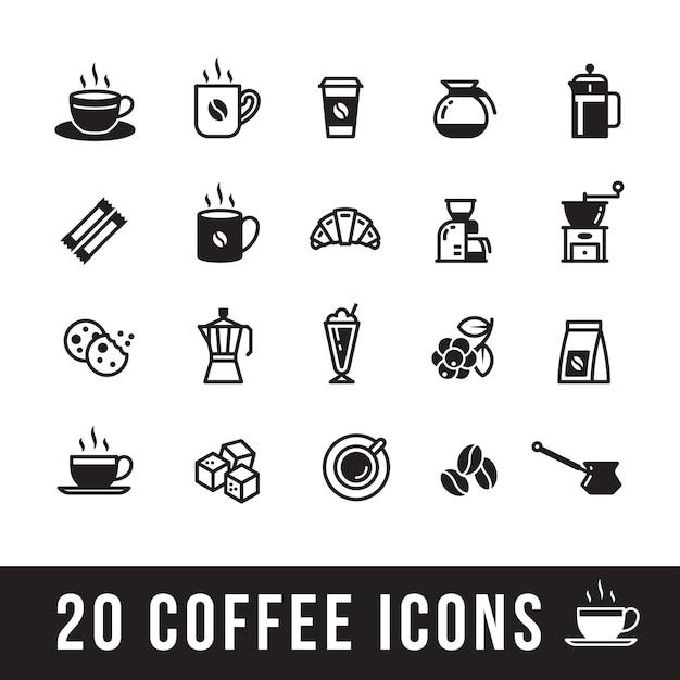 Ensemble d'icônes de café pour le café Vecteur Premium