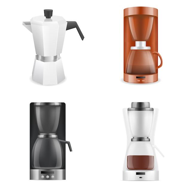 Ensemble d'icônes de cafetière, style réaliste Vecteur Premium