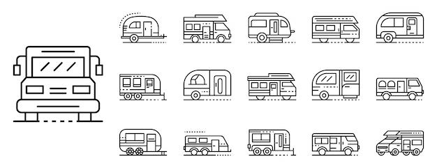 Ensemble D'icônes Camping-car, Style De Contour Vecteur Premium