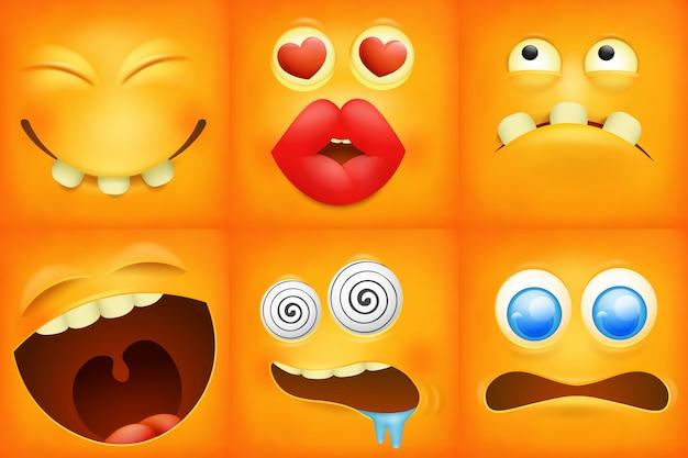 Ensemble d'icônes carrées émoticône jaune. Vecteur Premium