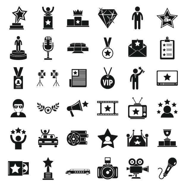 Ensemble D'icônes De Célébrités Vecteur Premium