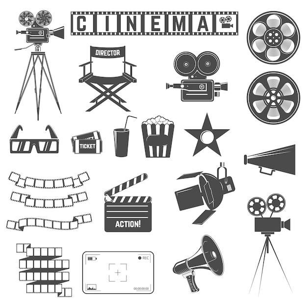 Ensemble d'icônes de cinéma Vecteur Premium