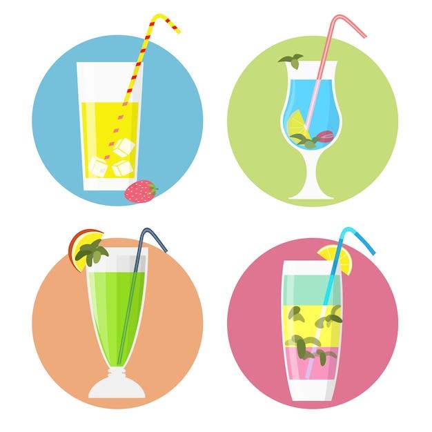 Ensemble d'icônes de cocktails, style plat Vecteur Premium