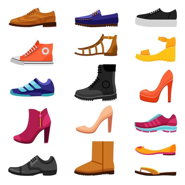 Ensemble d'icônes colorées de chaussures Vecteur gratuit
