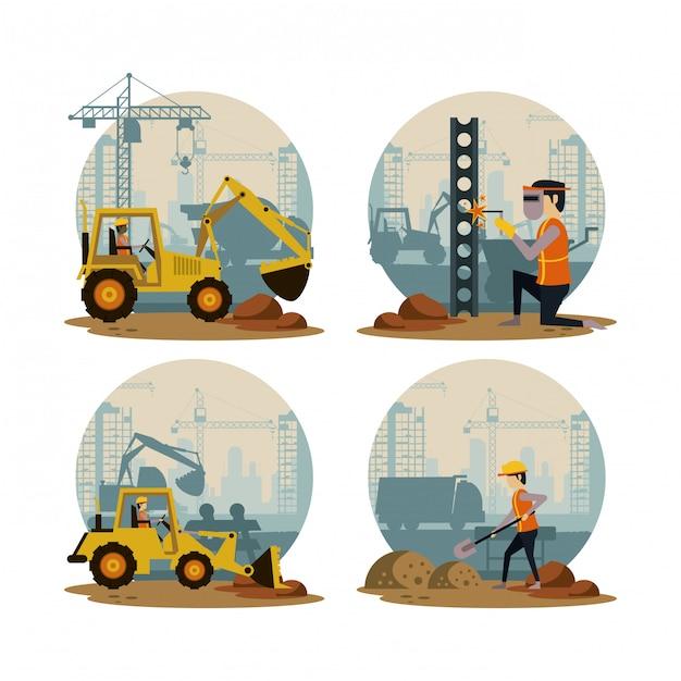 Ensemble d'icônes en construction Vecteur Premium