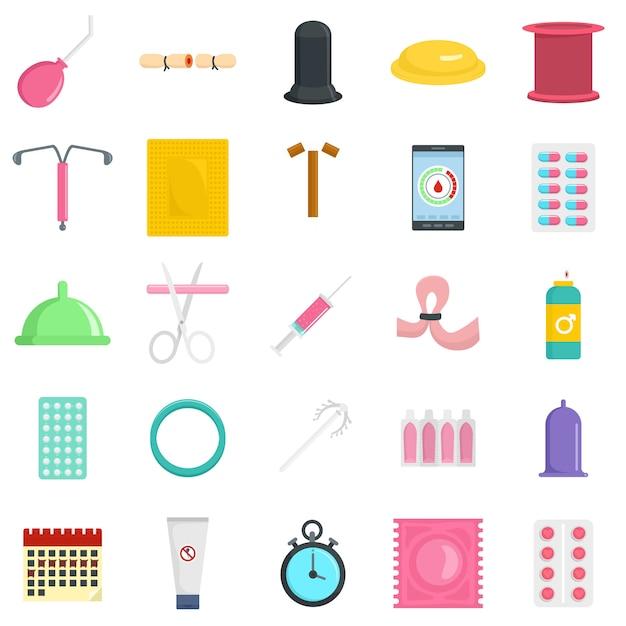 Ensemble D'icônes De Contrôle De La Contraception Vecteur Premium