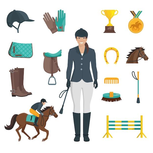 Ensemble d'icônes de couleur plat avec un fond blanc représentant l'équipement de jockey et un cheval Vecteur gratuit