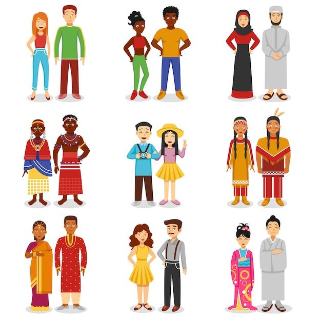 Ensemble d'icônes de couples nationaux Vecteur gratuit