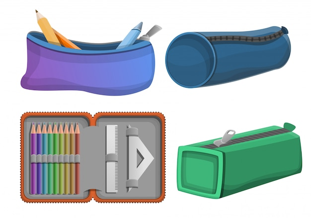 Ensemble D'icônes De Crayon, Style Cartoon Vecteur Premium