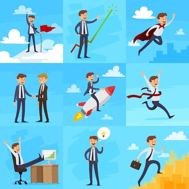 Ensemble d'icônes de croissance de carrière Vecteur gratuit