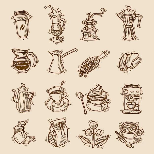 Ensemble d'icônes de croquis de café Vecteur gratuit