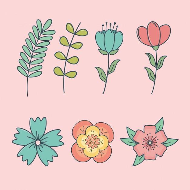Ensemble d'icônes décoratives de fleurs Vecteur Premium