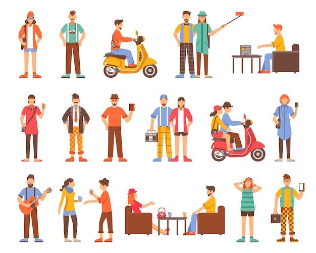 Ensemble d'icônes décoratives personnes hipster Vecteur gratuit