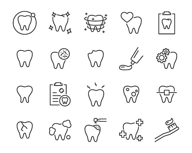 Ensemble D'icônes De Dents Vecteur Premium