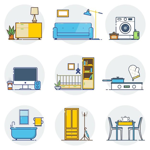 Ensemble d'icônes de design d'intérieur de ligne. Vecteur Premium