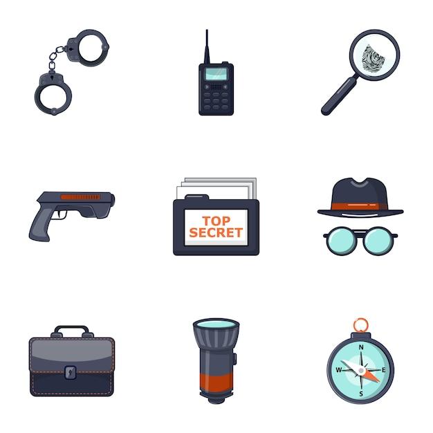 Ensemble d'icônes détective, style cartoon Vecteur Premium