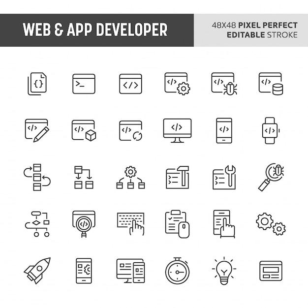 Ensemble D'icônes De Développeur Web Et D'application Vecteur Premium