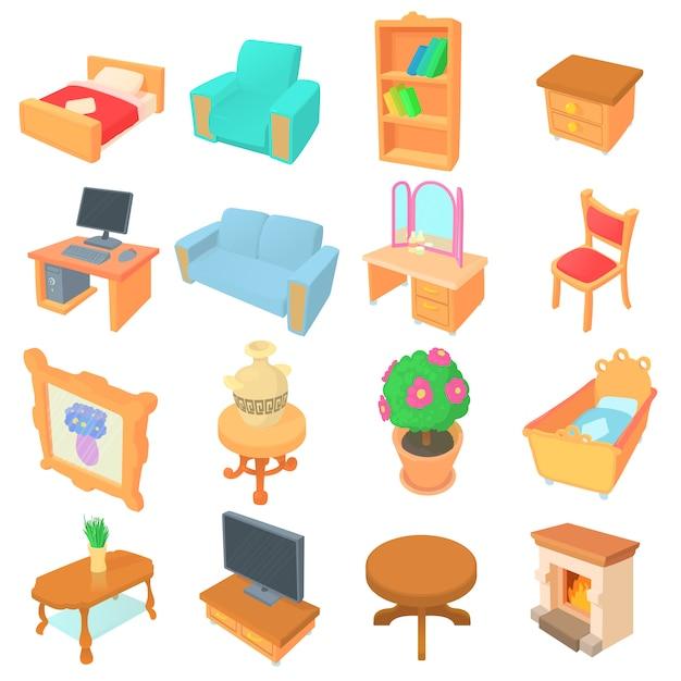 Ensemble d'icônes de différents meubles Vecteur Premium