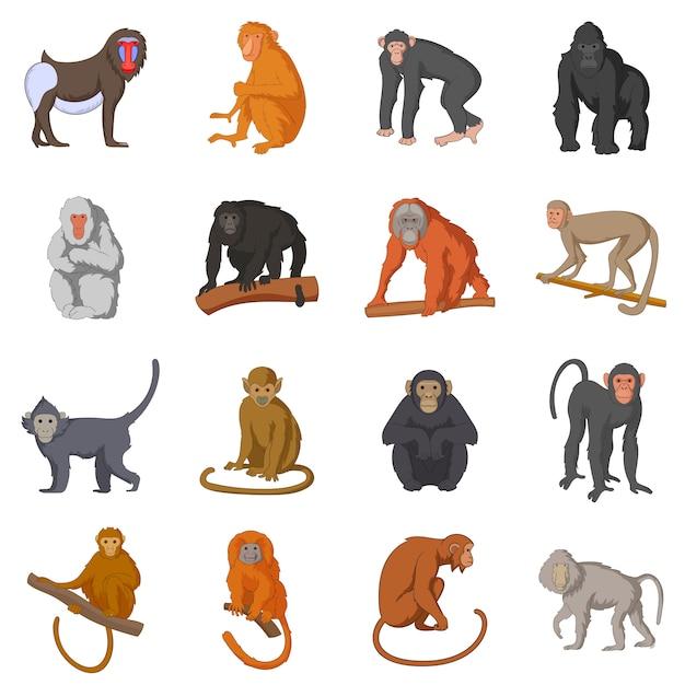 Ensemble d'icônes différents singes Vecteur Premium