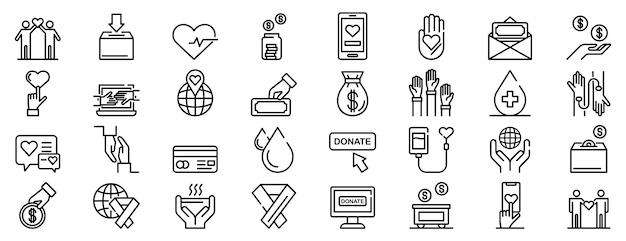 Ensemble d'icônes de dons, style de contour Vecteur Premium