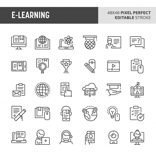 Ensemble D'icônes E-learning Vecteur Premium