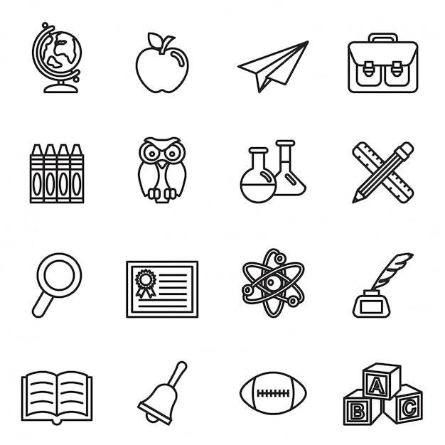 Ensemble d'icônes de l'éducation scolaire. vecteur stock de style fine ligne. Vecteur Premium