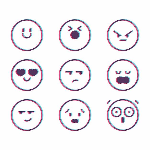 Ensemble D'icônes Emojis Glitch Vecteur gratuit