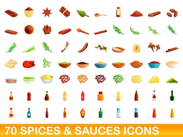 Ensemble D'icônes D'épices Et De Sauces. Bande Dessinée Illustration De 70 Icônes D'épices Et De Sauces Sur Fond Blanc Vecteur Premium