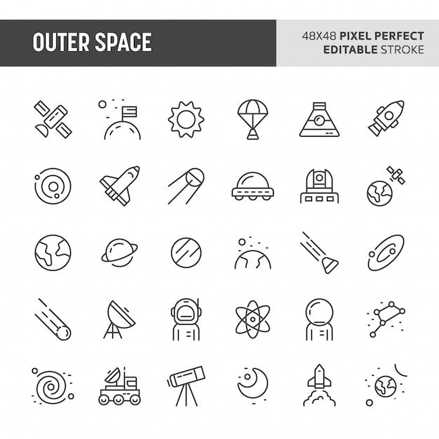 Ensemble D'icônes De L'espace Extra-atmosphérique Vecteur Premium