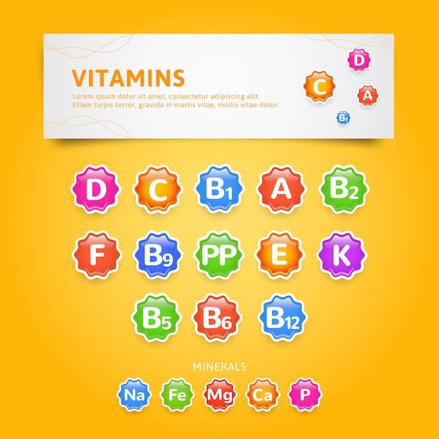 Ensemble d'icônes ou d'étiquettes de vitamines et de minéraux Vecteur Premium