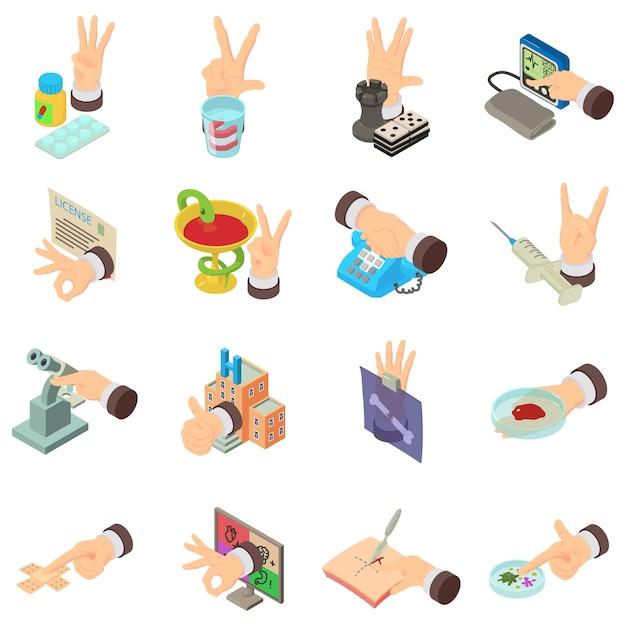 Ensemble d'icônes des exigences médicales, style isométrique Vecteur Premium