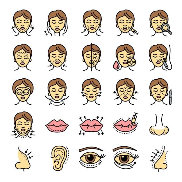 Ensemble D'icônes Faciales De Levage, Style De Contour Vecteur Premium