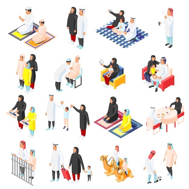 Ensemble D'icônes De Famille Arabe Vecteur gratuit