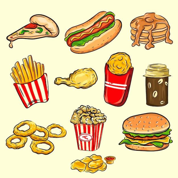 Ensemble d'icônes de fast-food cartoon coloré. vecteur isolé Vecteur Premium