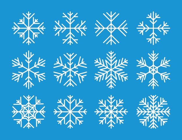 Ensemble d'icônes de flocons de neige vecteur blanc Vecteur Premium
