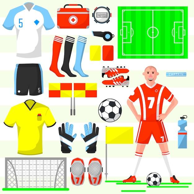 Ensemble d'icônes de football de football. Vecteur Premium