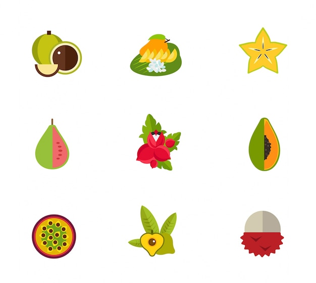 Ensemble d'icônes de fruits tropicaux Vecteur gratuit