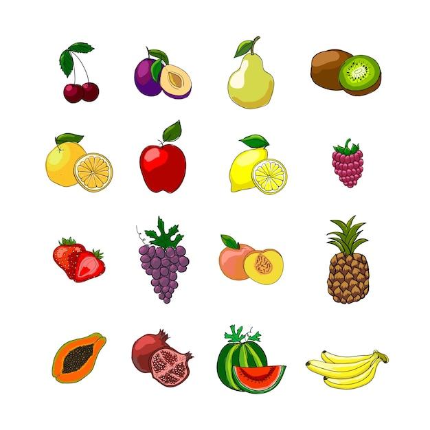 Ensemble d'icônes de fruits Vecteur gratuit