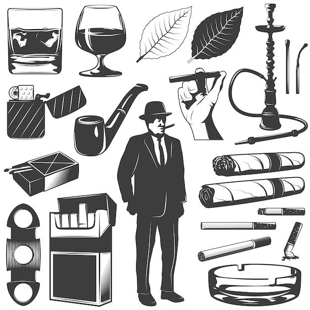 Ensemble D'icônes De Fumer Vecteur gratuit