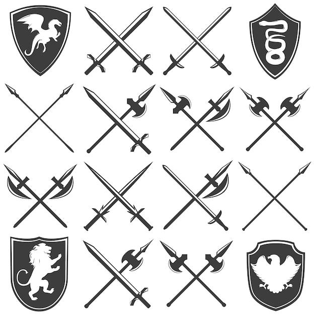 Ensemble D'icônes Graphique Héraldique Armurerie Vecteur gratuit