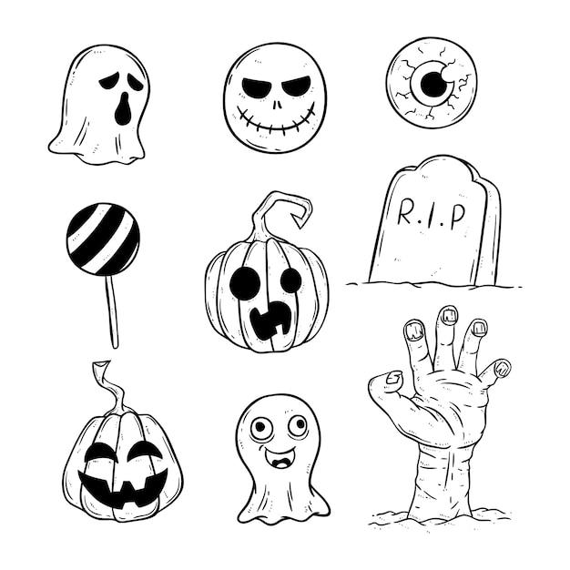 Ensemble d'icônes d'halloween avec style doodle Vecteur Premium