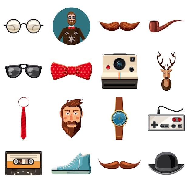 Ensemble d'icônes de hipster, style cartoon Vecteur Premium