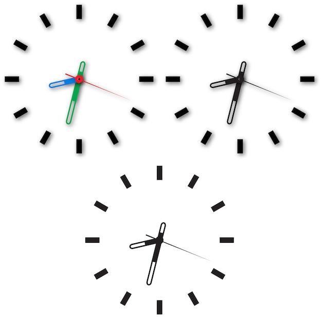Ensemble d'icônes d'horloge sur fond blanc. Vecteur Premium