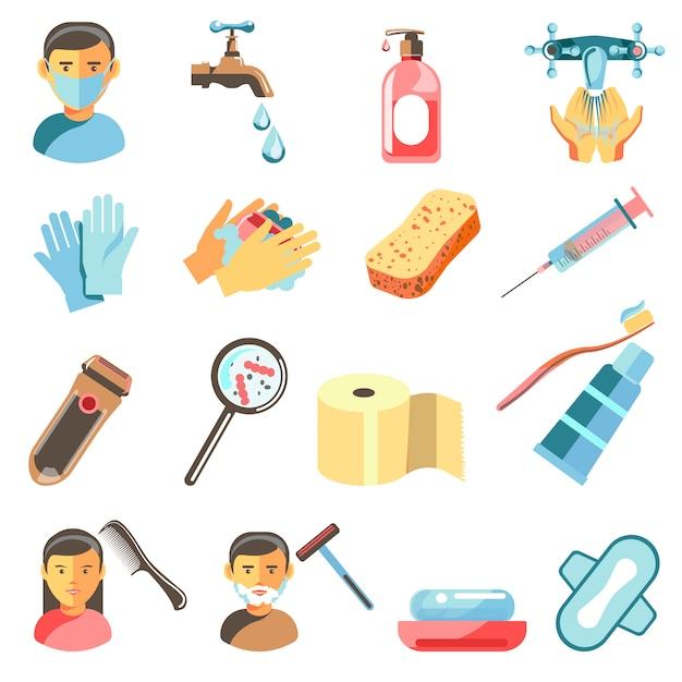 Ensemble d'icônes d'hygiène et sanitaires. Vecteur Premium