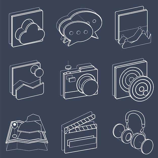 Ensemble d'icônes d'icônes de loisirs Vecteur gratuit