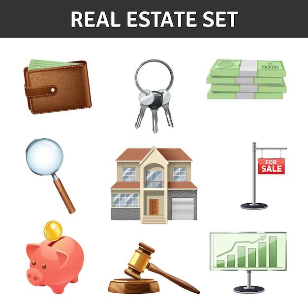 Ensemble d'icônes immobilier Vecteur gratuit