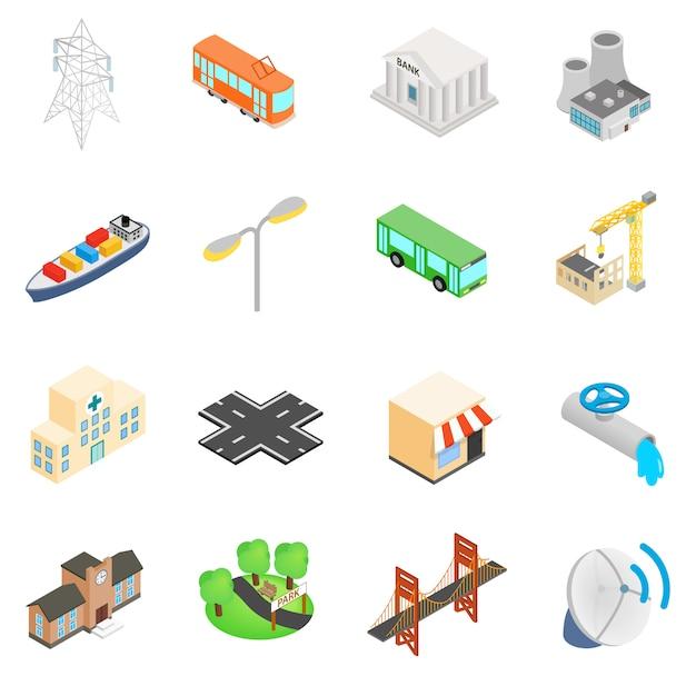 Ensemble d'icônes d'infrastructure Vecteur Premium