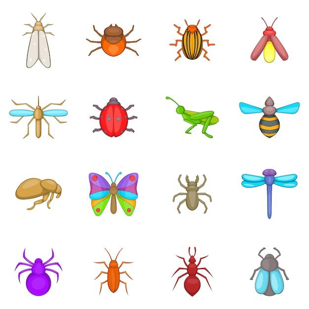 Ensemble d'icônes insectes Vecteur Premium